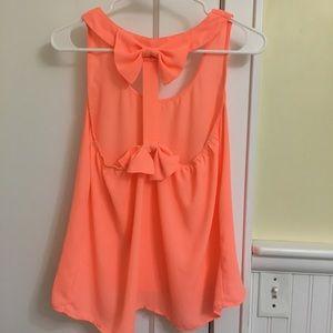 Tops - Neon Orange Bow Back Blouse Tank